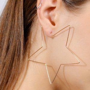Gold Hollywood Star Hoop Earrings